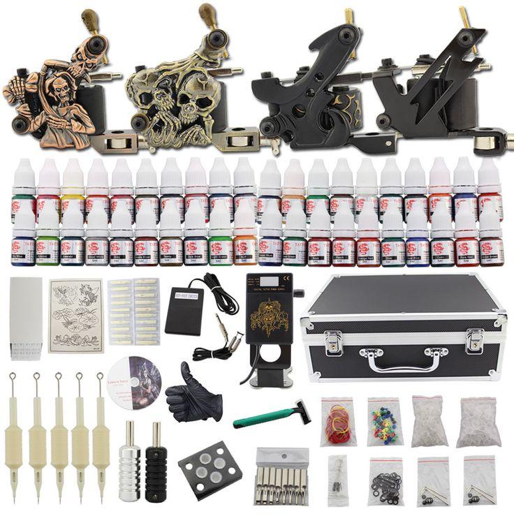 Complete Starter Tattoo Machine Kit 4 Gun 40 Ink Power Supply Set Needle Grip C6
