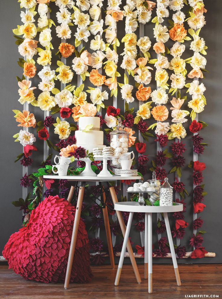 #FlowerBackdrop crepe paper flowers at LiaGriffith.com: