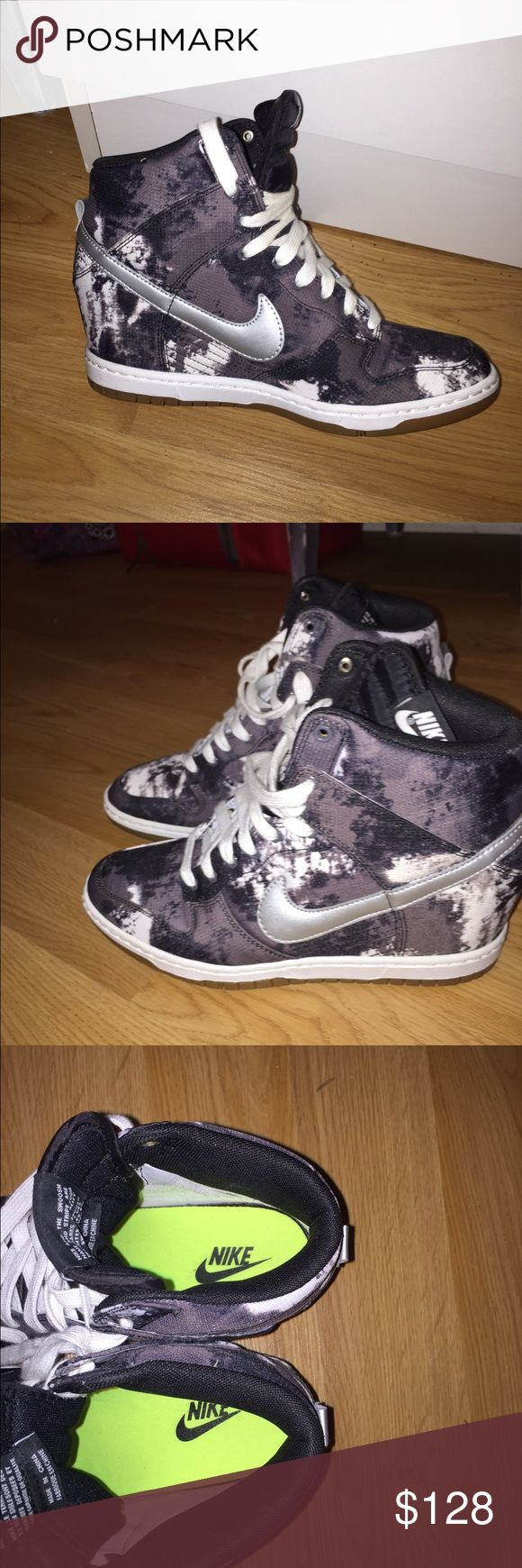Nike dunk wedge sneakers Grey and white nike wedged sneakers- worn twice. Basically new. Nike Shoes Sneakers