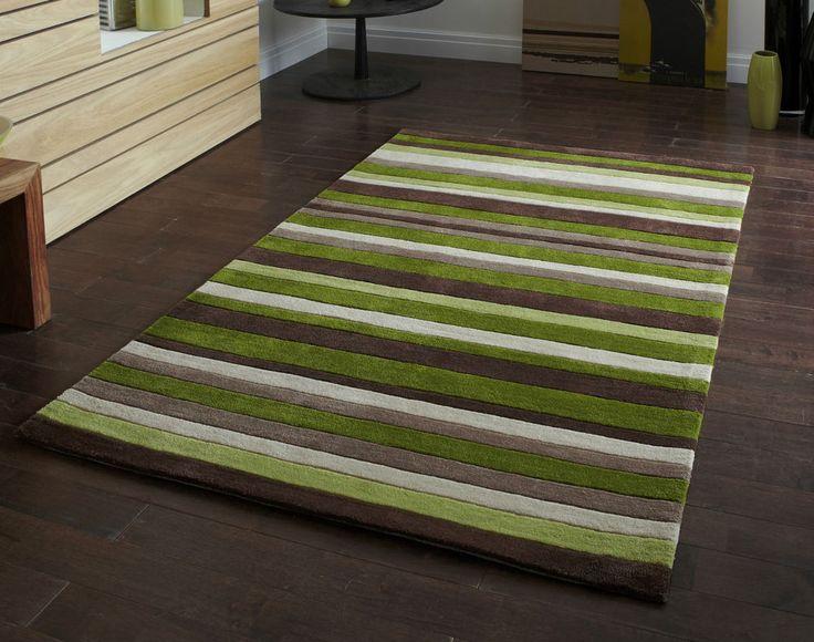"QUALITY Modern Green Brown stripe rug 90 x 150cm (2ft 9"" x 5ft 0"") - Acrylic Rug #HongKong2022Green #Contemporary"
