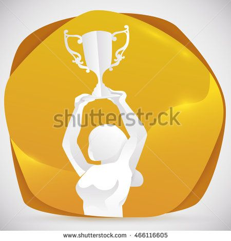 Beauty woman athlete silhouette celebrating her new trophy and triumph in sports…
