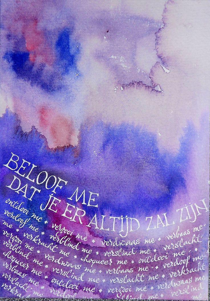 """Kalligrafie, tekst van het lied """"Ontdooi me"""" van Bart Peeters"""