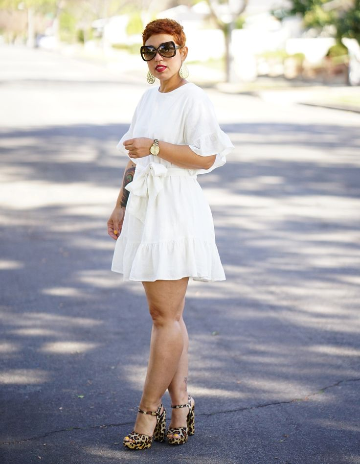 WHITE LINEN DRESS WITH TIE BELT - Mimi G Style