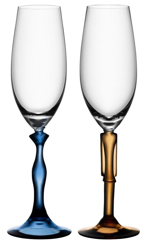 Two of Us Champagne glasses, design by Kjell Engman for Kosta Boda