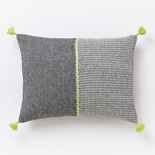 Woven Grid Pillow Cover - Citrus Yellow