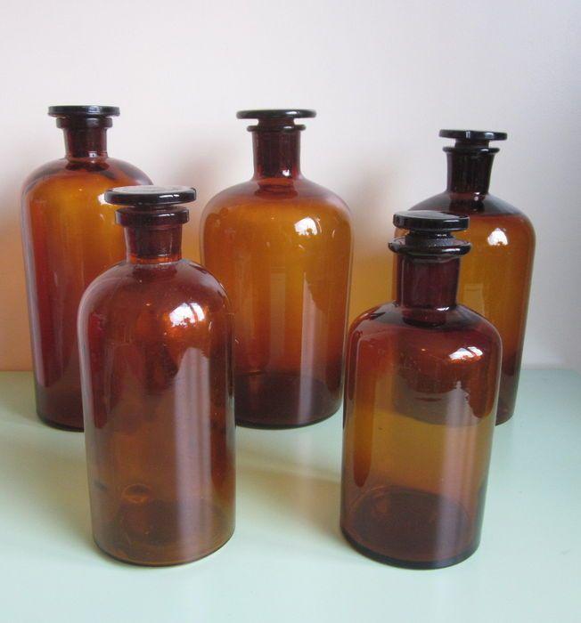 Set van 5 apothekers flessen