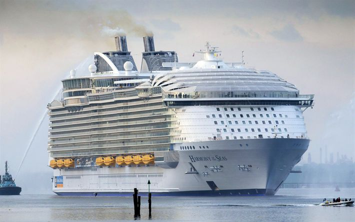 Download wallpapers Harmony of the Seas, cruise liner, luxury ship, seaport, passenger liner, Caribbean Sea