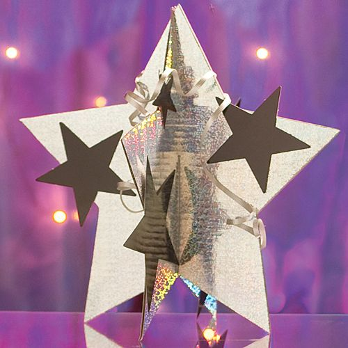 Holographic Silver 3D Star Centerpiece