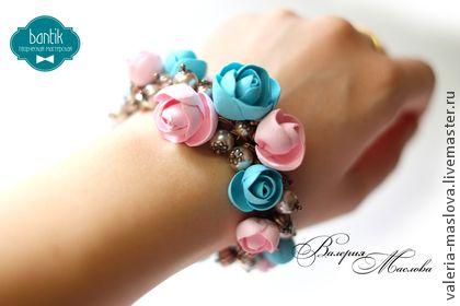 """Браслет и серьги с цветами """"Шарм"""" - розовый,нежно розовый,голубой,бирюзовый"""