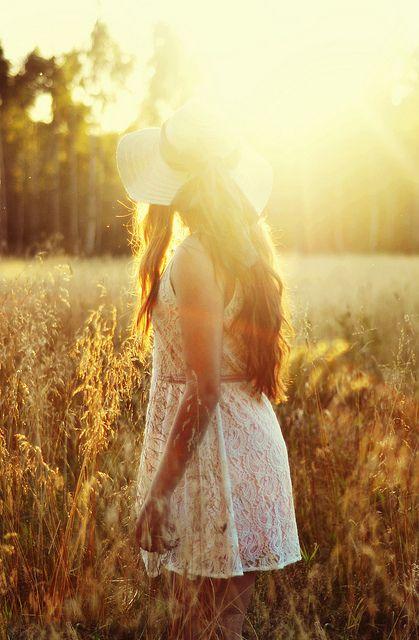 the sun. a simple dress. a field of grass. bliss.