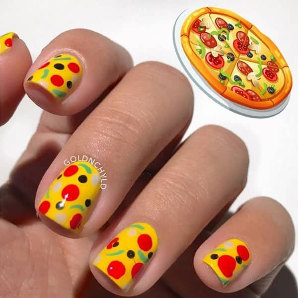 Who Wants Pizza? Nail Art by @goldnchyld; check it out at http://www.nailitmag.com/nail-art-of-the-day/pizza-nails