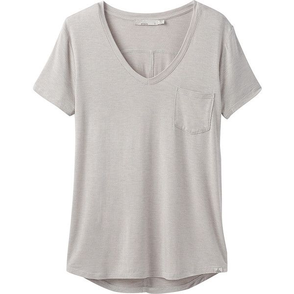 PrAna Foundation Short Sleeve V-Neck Top - XS - Light Grey Heather -... ($45) ❤ liked on Polyvore featuring tops, t-shirts, grey, tee-shirt, stretch t shirt, gray t shirt, short sleeve t shirt and pocket tees