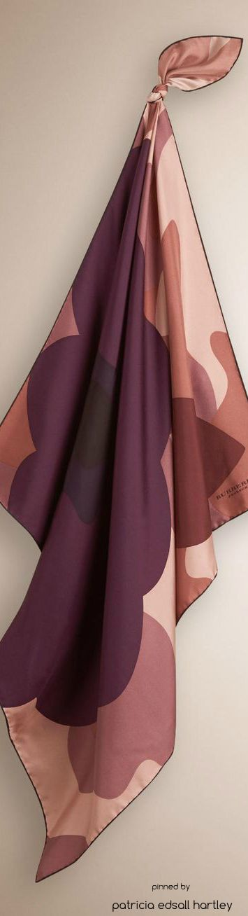 Burberry Camouflage and Floral Print Silk Scarf  |  @  scarf and belts