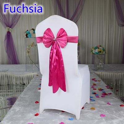 Fuchsia colour chair sash long tail butterfly style wedding chair decoration luxury chair bow tie wholesale lycra spandex sash