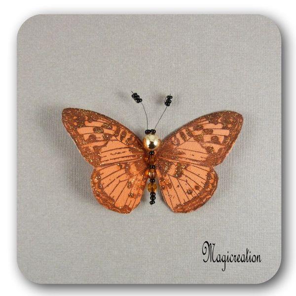 MAGNET PAPILLON SOIE ORANGE DORE - CAMELIA - Boutique www.magicreation.fr