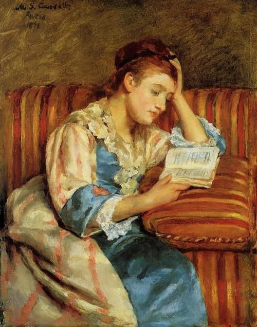 Mrs. Duffee Seated on a Striped Sofa, Reading - Mary Cassatt 1876