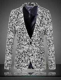 Hombre Retro Tejido Oriental Casual/Diario Fiesta/Cóctel Primavera Otoño Blazer,Escote Chino Estampado Manga Larga Regular De Gran Tamaño