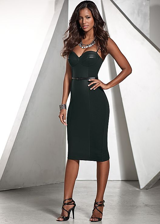 Black Faux Leather Insert Dress From Venus Sizes 2 16