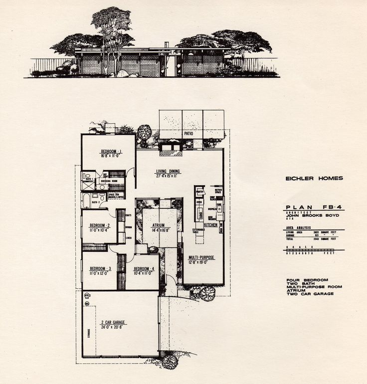 Floor plan of an Eichler Home designed by John Brooks Boyd.