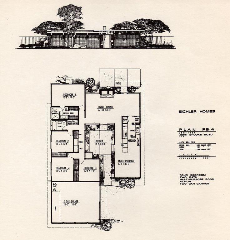 Floor plan of an Eichler Home designed by John Brooks Boyd.