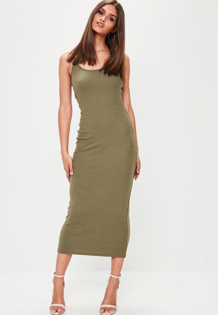 Missguided - Khaki Ribbed Midi Dress
