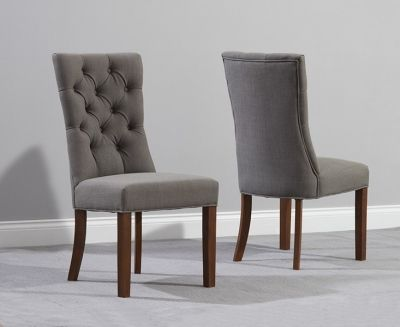 Mark Harris Albury Solid Dark Oak Dining Chair - Grey Fabric (Pair)