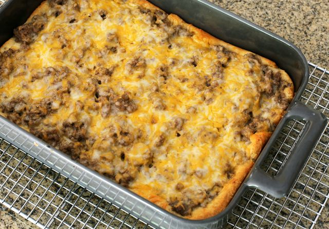 Ground Beef Stroganoff Bake with Crescent Crust