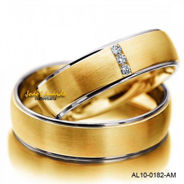 Aliança de casamento bicolor com diamantes - AL10-0182