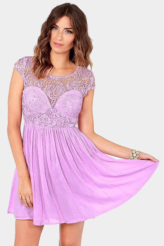 Look the Part-y Lavender Lace Dress at LuLus.com!