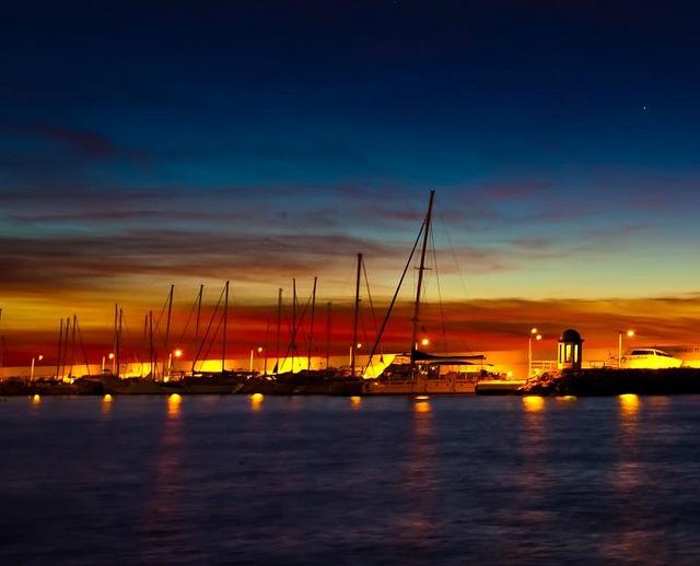 Yachts at dawn, Marbella, Spain