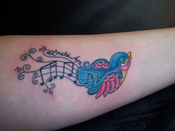 27 best feminine bird tattoos images on pinterest tatoos for Feminine music tattoos