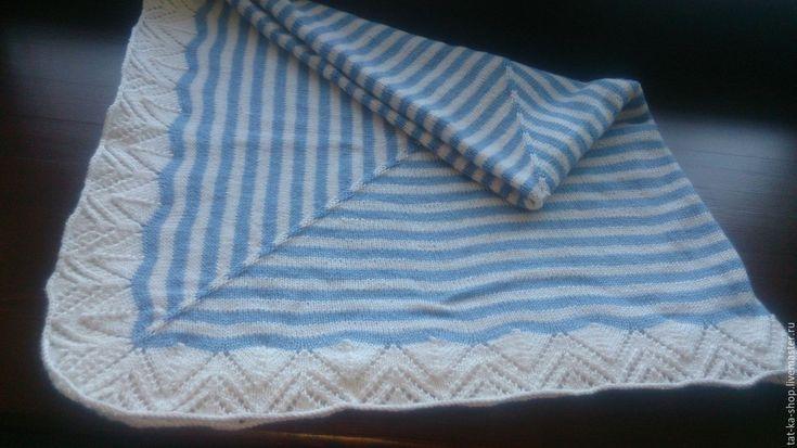 Купить Детский плед ручной работы - голубой, в полоску, детский плед, детская пряжа
