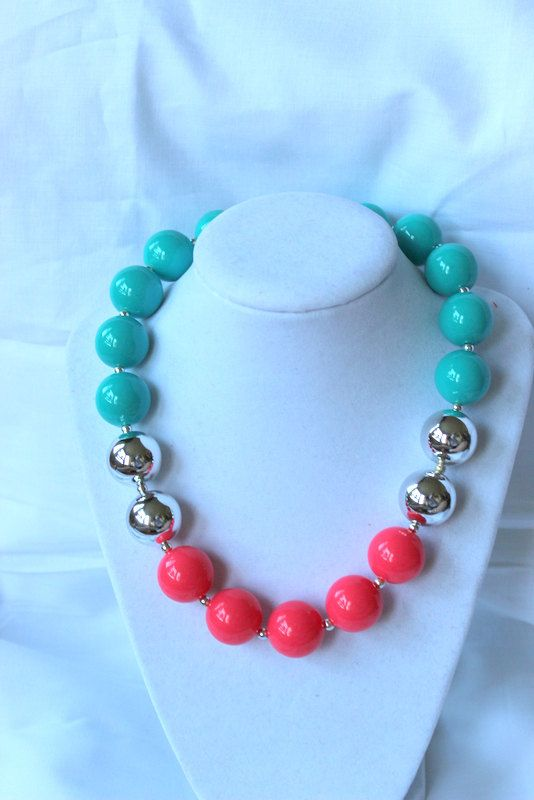 chunky bead necklace coral aqua pink teal by LightningBugsLane, $15.00