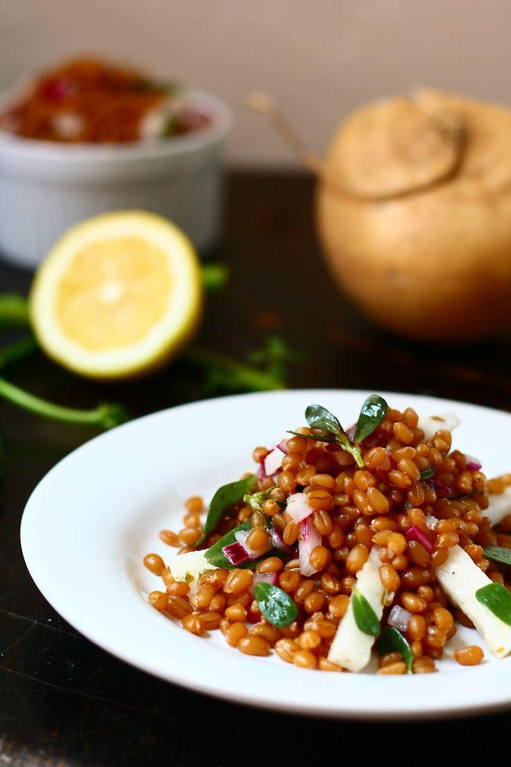 wheat berry jicama purslane salad