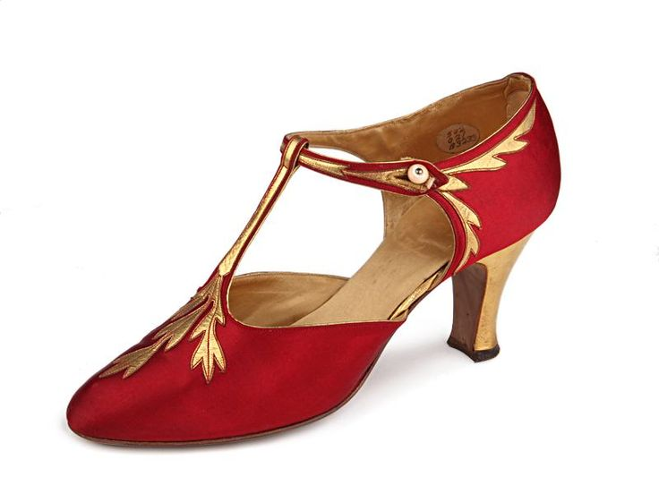 T-Strap Shoes ~ 1920's ~ by Frank Brothers Footwear Inc. ~  American ~ Satin decorated with gold leather leaves