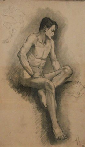 Untitled (Seated Male Nude), 1876, Carl von Marr, Museum of Wisconsin Art, 0105.