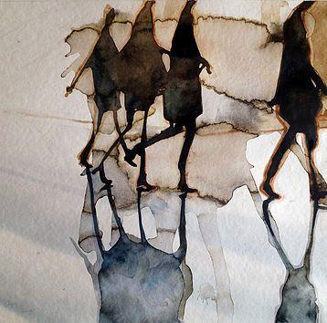 Pierre Renollet | Serie sur le thème du flou, perception différente de scènes du quotidien. Vision abstraite. Watercolor paintings | aquarelle