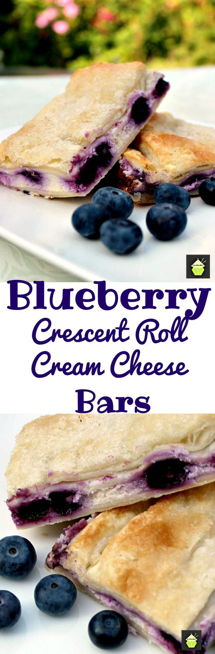 Blueberry Crescent Roll Cheesecake Bars. An incredibly easy recipe with cream cheese and blueberry filling sandwiched between layers of pastry. This tastes amazing!   Lovefoodies.com