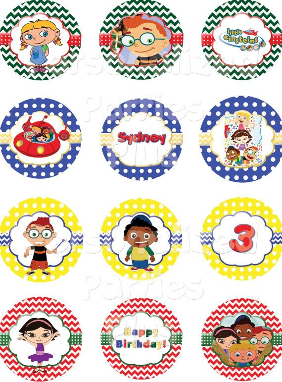 These colorful Little Einsteins cupcake toppers are great for birthday party celebrations! There are 12 different cupcake designs all printed on one