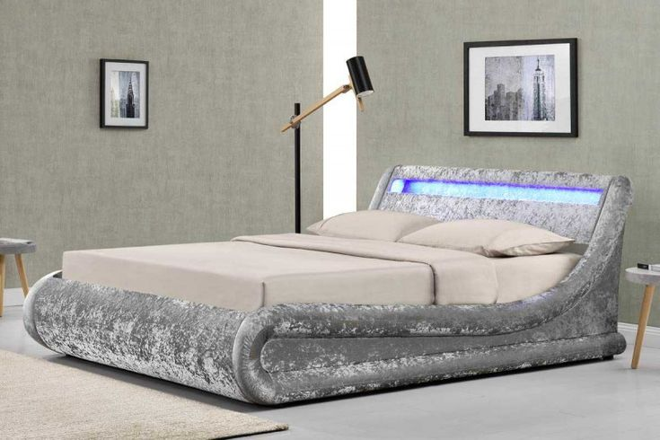 Madrid Led Lights Silver Crushed Velvet Fabric Ottoman Storage Bed Frame Double King Size Crazy Price Velvet Bed Frame Grey Velvet Bed Crushed Velvet Bed