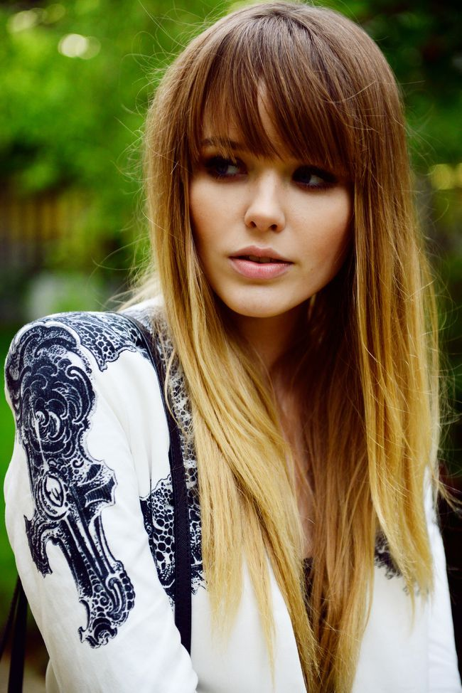 We absolutely love this blonde ombre hair with blunt bangs. Such a super cute hairstyle