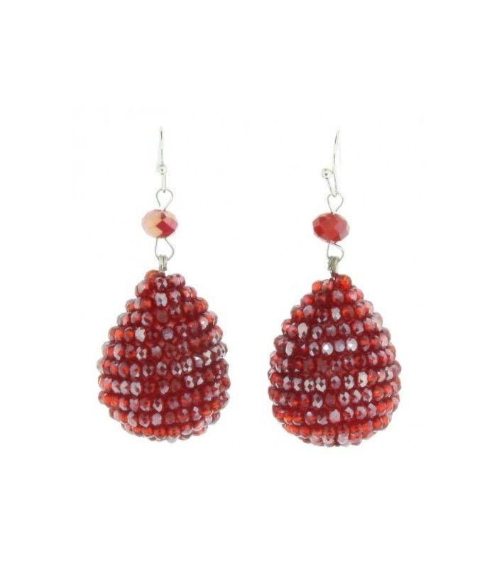 Rode druppel oorbellen van facet glaskralen