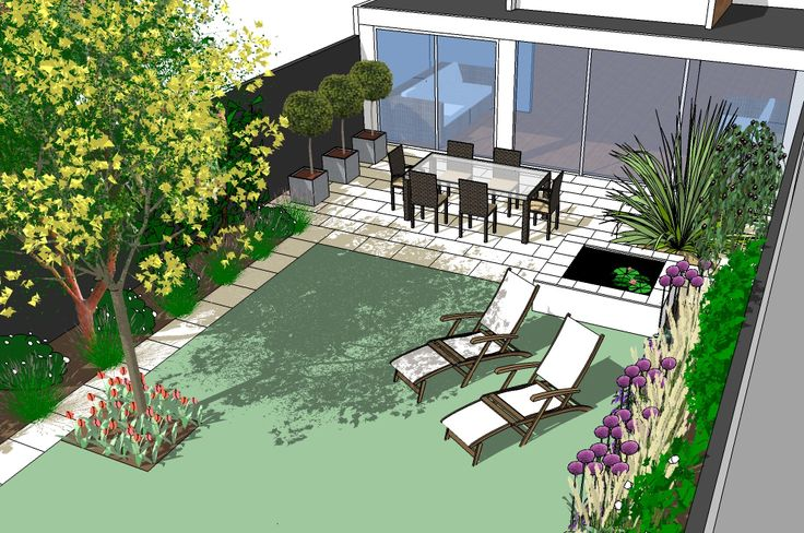 Modern patio with pond design for small south facing city garden