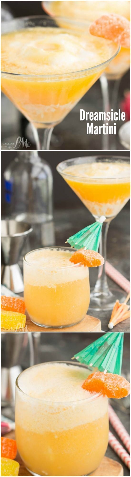 Dreamsicle Martini Recipe is a vodka cocktail made with ice cream and orange juice. It's fun summer time drink and can be made with or without the vodka!