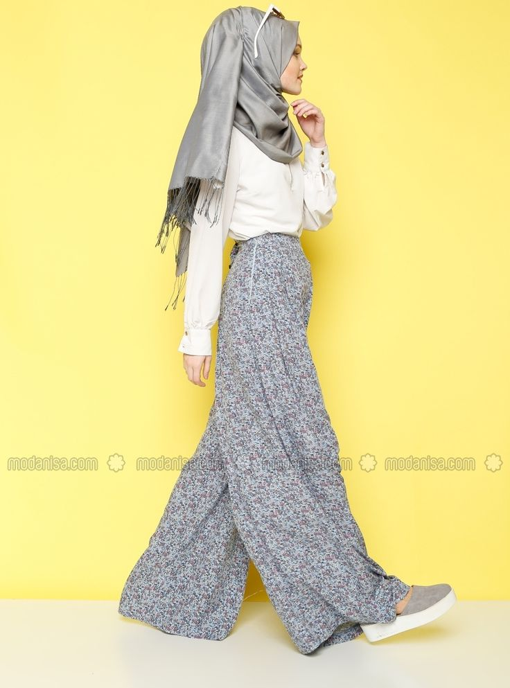 Patterned Culottes - Blue - Benin