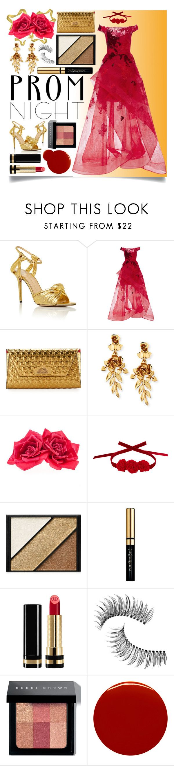 """Prom Night"" by ittie-kittie ❤ liked on Polyvore featuring Charlotte Olympia, Monique Lhuillier, Christian Louboutin, Oscar de la Renta, Johnny Loves Rosie, Vjera Vilicnik, Elizabeth Arden, Yves Saint Laurent, Gucci and Trish McEvoy"