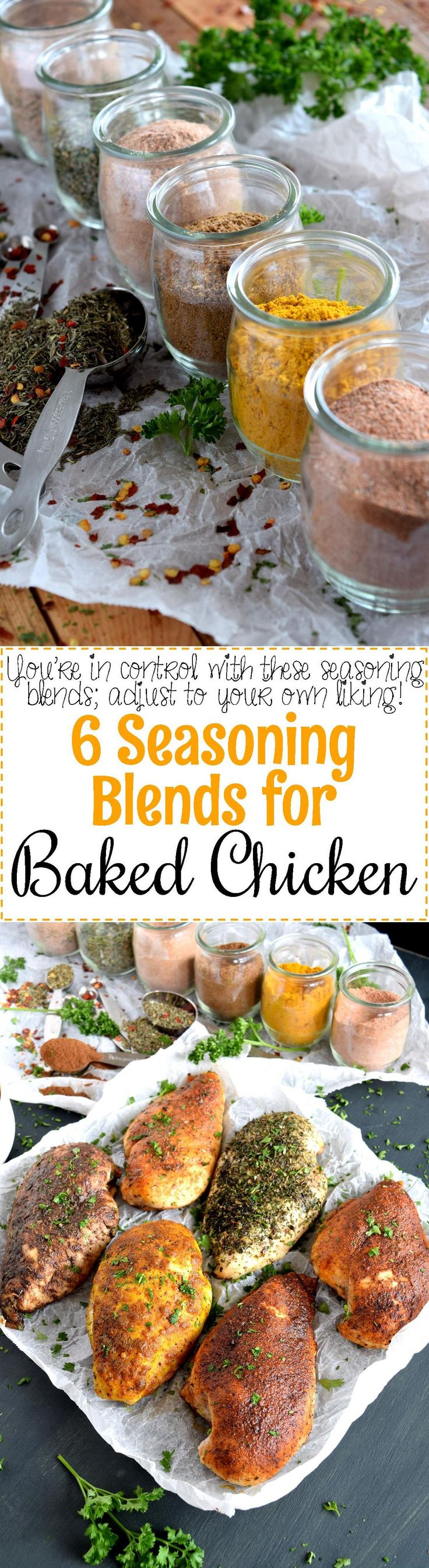 6 Seasoning Blends for Baked Chicken - Plain baked chicken is a thing of the past!  Jazz up your baked or grilled chicken with these 6 Seasoning Blends!  Pick your favourite – Cajun, Italian, Southwest, Jerk, Curry, or BBQ!