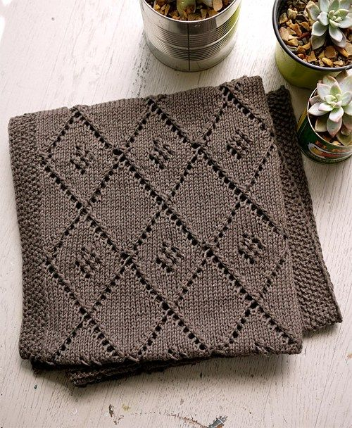 Free knitting pattern for Chocolate Parfait baby blanket with diamond lattice motif