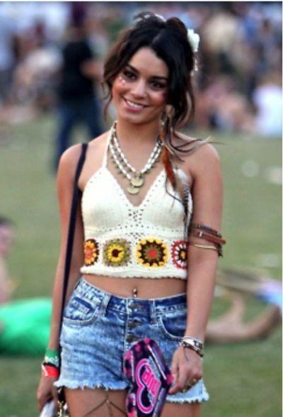 Boho Crochet Halter Prime White With Hippie Granny Squares Coachella Pageant Put on…