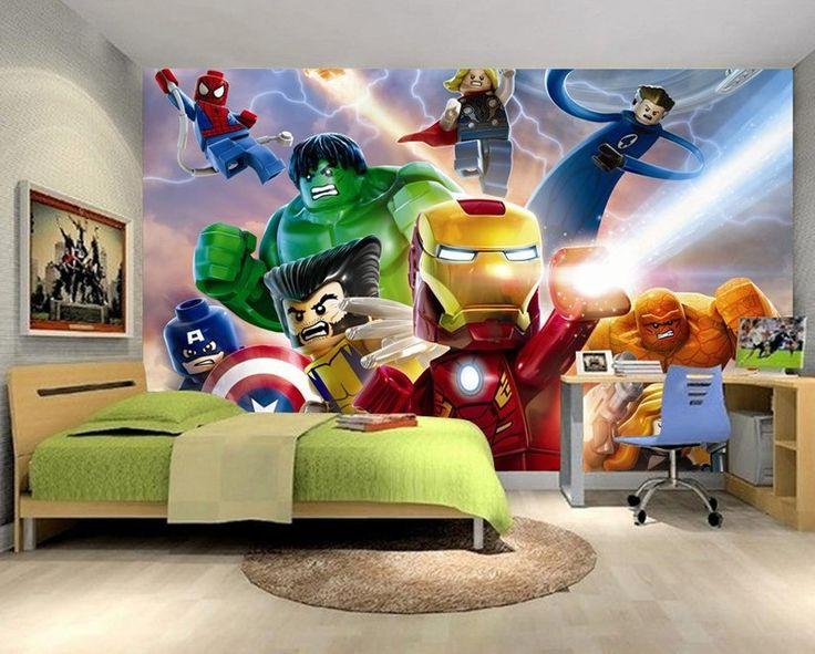 3D Lego Movie Avengers Hulk Iron Man Wallpaper for Kids